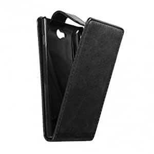 Black Magnetic Flip PU Leather Case For Sony Xperia S39h