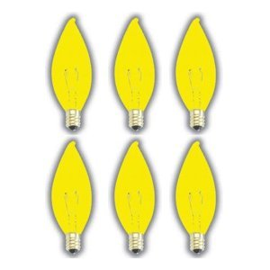 (6 Pack) 60 Watt Flame Tip Candelabra Base Yellow Bug Light Industrial Grade Bulb Shatterproof Yellow Bug Light Bulb