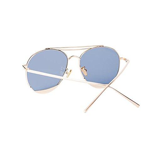 sol conducción para excursionista protección de protección gafas sol polarizadas de UV visera UV400 aire regalo Gafas Gold Nuevas personalidad de al casuales sol mujer de Vintage de de Blue Frame libre estrella gafas nZwqpItHq