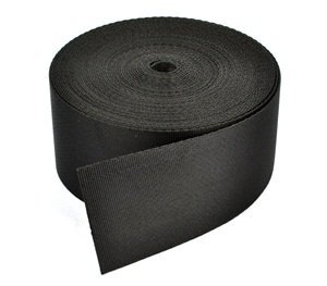 (Cosmos ® 2 Inches Wide 10 Yards Black Nylon Heavy Webbing Strap with Cosmos Fastening Strap)