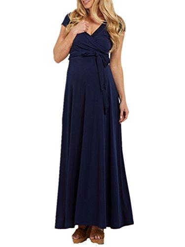 Pinkydot Women's Draped Maxi Maternity Dress Front Tie Nursing Clothes Navy M