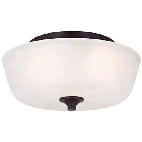 Westinghouse 6224400 Treebridge Station Two-Light Interior Flush Ceiling Fixture, Espresso Finish with White Alabaster Glass - Black Finish White Alabaster Glass