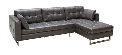 Amazon.com: Sunpan Modern Wilson Leather Sofa Chaise, Ash ...