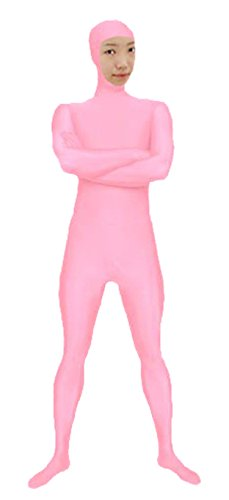 VSVO Spandex Open Face Full Bodysuit Zentai Suit for Adults and Children (Kids Small, Pink)
