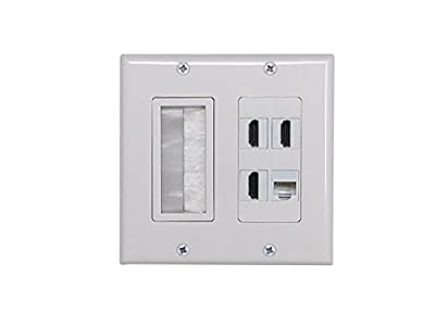 Kenuco Double Gang Wall Plate Cable Entry Device with Brush-Style Opening | RJ45 Keystone Jack | 3 HDMI Keystone Jacks