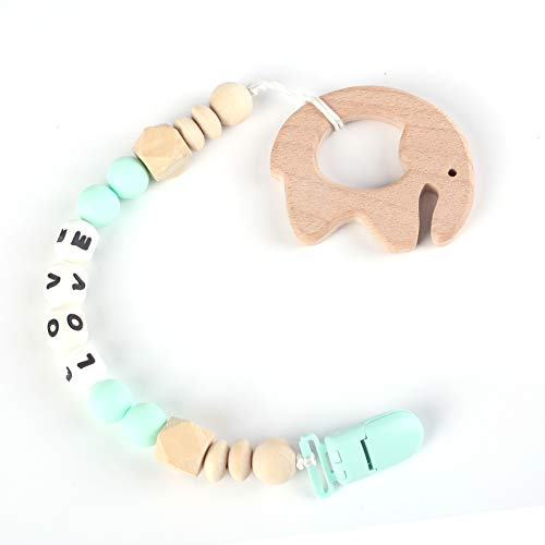 (ANGBEIER Silicone Teething Necklace - Baby Safe for Mom to Wear - BPA-Free Chew Beads - Stylish & Natural(Gray))