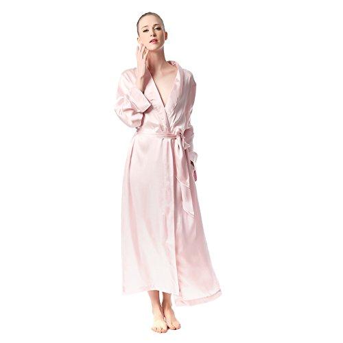 Jasmine Silk Luxury Pure Silk Dressing Gown Robe Kimono Pink