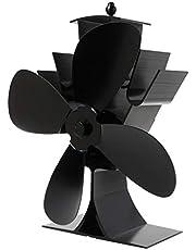 KJ-KUIJHFF Domowy aluminiowy cichy wentylator kominkowy z 4 ostrzami elektryczny zasilany ciepłem do kominków kominkowych drewniany palnik