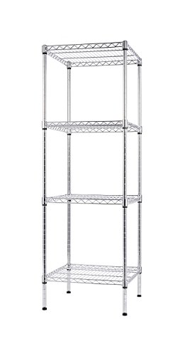 (Finnhomy 4 Shelves Adjustable Steel Wire Shelving Rack for Smart Storage in Small Space or Room Corner, Metal Heavy Duty Storage Unit, Bathroom Storage Tower)