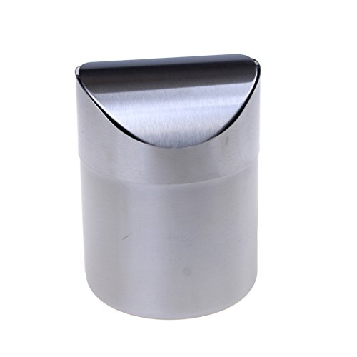 LONG7INES Stainless Steel Portable Mini Countertop Desktop Garbage Bucket Trash Can with Swing Lid