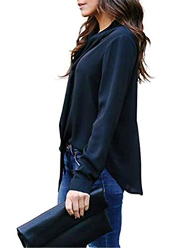 Donna Manica Camicia Blue Ibelive Lunga Navy x4qFF8w