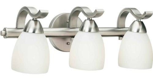 Forte Lighting 5045-03-55 Bath Vanity with Satin Opal Glass Shades, Brushed Nickel by Forte Lighting