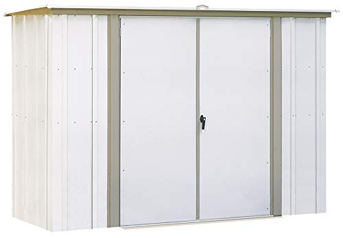 Arrow 8' x 3' Eggshell with Taupe Trim Pent Roof Galvanized Steel Garden Shed