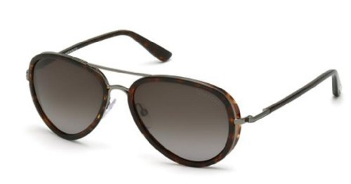 Tom Ford Miles FT0341 Sunglasses-09P Black/Tortoise (Gray Gradient Lens)-55mm