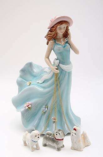 Cosmos Gifts Fine Elegant Strolling Lady in Blue Dress Walking Dogs Figurine, 7-7/8