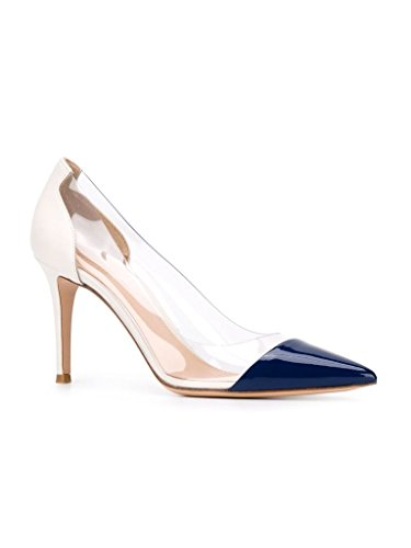 Da Blu Toe Tallone Shoes Wedding Blue Scarpe Cap Rilevare Transparent Pointed Pvc Sposa Stilettos Alto Heel Eldof Trasparenti Womens Stiletti Puntale Pumps Womens Pvc Centimetri High 8 8cm Eldof xq4TOff