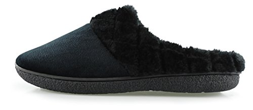 384342eb824 Floopi Womens Indoor Outdoor Soft Velour Quilted Fur Lined Clog Slipper  W Memory Foam