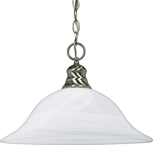 390 Glasses - Nuvo Lighting 60/390 One Light Pendant, Brushed Nickel/Alabaster Glass