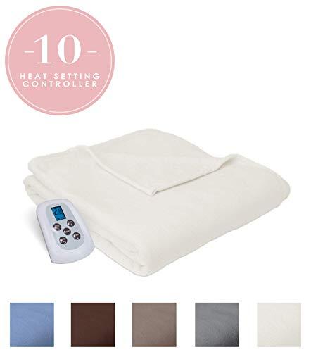 Serta | Brushed Fleece Heated Electric Throw Blanket, (King, Natural)