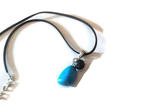 Blue Howlite Gemstone Necklace Lava Rock Aromatherapy Essential Oil Diffuser Pendant Spiritual Crystal Jewelry