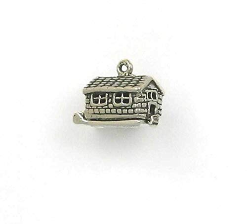 Pendant Jewelry Making/Chain Pendant/Bracelet Pendant Sterling Silver 3-D Movable Log Cabin Charm