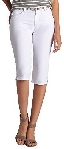Lees Skimmer (LEE Women's Modern Series Midrise Fit Belted Maisie Capri Jean, White, 8)