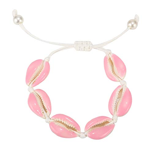 ZHQI Boho Pearl Natural Shell Bracelets Color Enamel Cowry Beaded Beach SeashellJewelry for Women Girl (Pink)