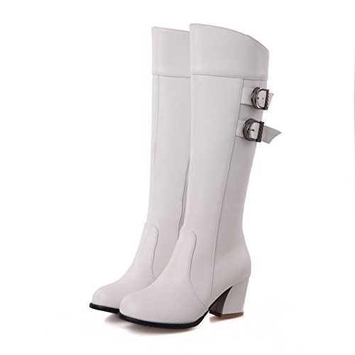 Heels Soft White AmoonyFashion Round Boots Women's Material Zipper Kitten Toe Top High Closed W10nWqrA
