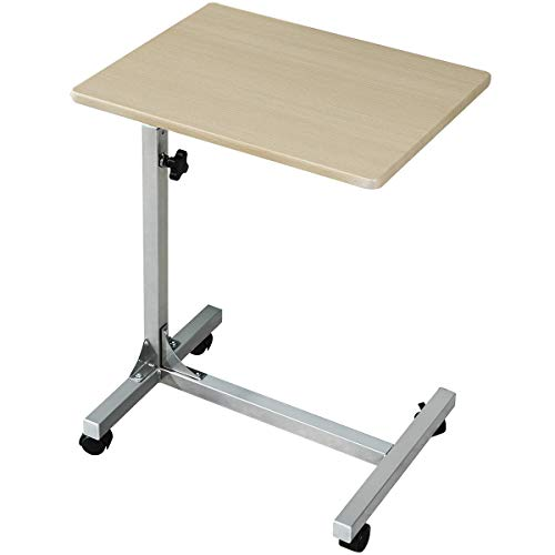 Coavas Laptop Desk Medical Adjustable Height Overbed Table Multi-Purpose Portable Computer Desk Bed Sofa Side Table with Wheels - Beech BELLO-23