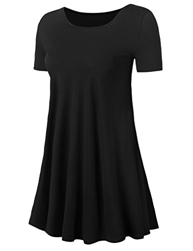 Uvog-Womens-Plus-Size-Short-Sleeve-Loose-Fit-Swing-Tunic-Tops-Basic-T-Shirt