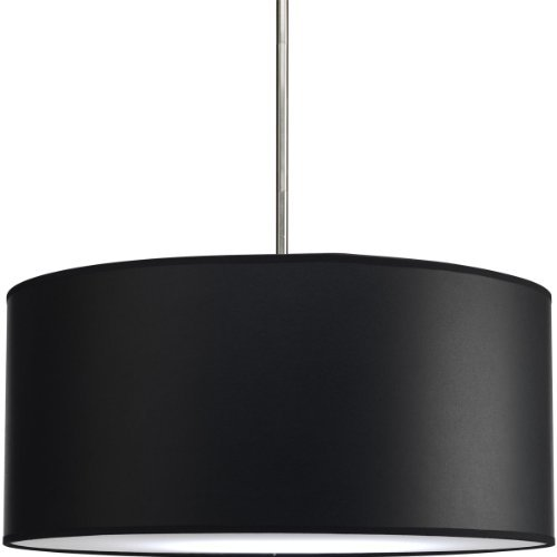 Progress Lighting P8824-01 Modular Pendant System Choose Shade and 1-Light Stem (P5198) or 3-Light Stem (P5199) To Make Complete Fixture 22-Inch Drum Shade, Black Parchment Paper by Progress Lighting (Pendant Stem System)