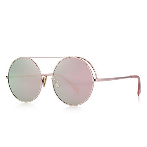 protección mujeres C06 C02 Classic con sol UV Puentes de TIANLIANG04 100 naranja gafas Dobles Mirror ronda Pink zdwx6q7U