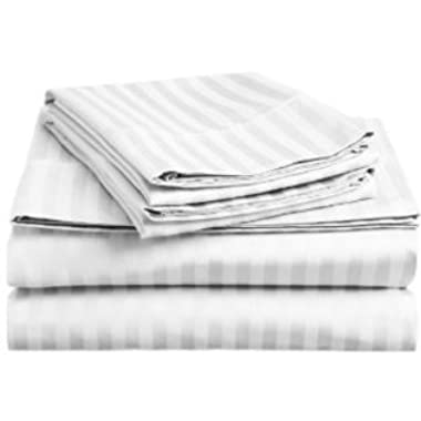 Comfort Linen 300 Thread Count Cotton Dobby Stripe Sheet Set- Assorted Colors/sizes, King - White