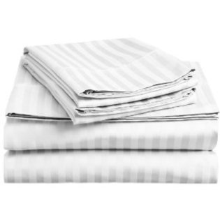 1400 Series 300 Thread Count 100% Cotton Sateen Dobby Stripe Sheet Set- 4 Sizes- 9 Colors (Twin, White) Photo #1