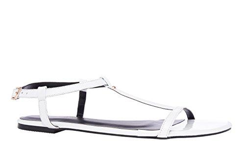 T-Bar Flat Sandals in White Patent, Size US 11.5 / EU 43 (T-bar Flat Sandal)