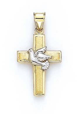 14 carats-Bicolore-Pendentif Colombe JewelryWeb croix