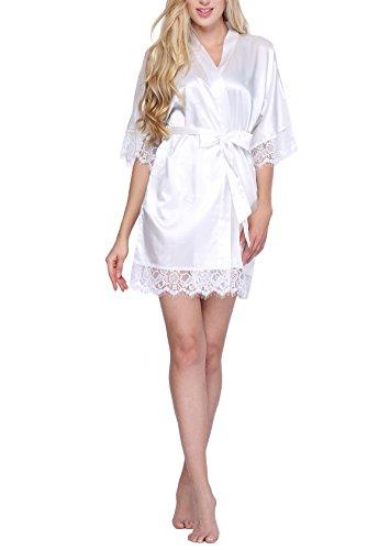 Robe Satin Lace - Original Kimono Women's Lace-Trimmed Satin Short Kimono Robe Bathrobe Loungewear White S