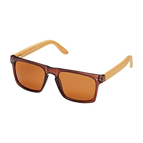 Blue Planet BP Nico Sunglasses Crystal Brown With Natural Bamboo - Bp Planet