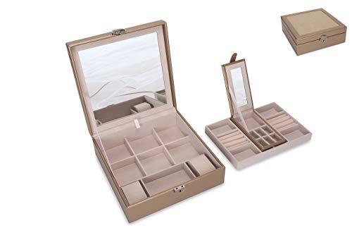 Square Jewelry Box Organizer For Women Large 2 Layer Jewelry Storage Holder Premium Gift For Girls (Brown)