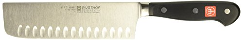 Wusthof Classic 7-Inch Nakiri Knife with Hollow Edge, -