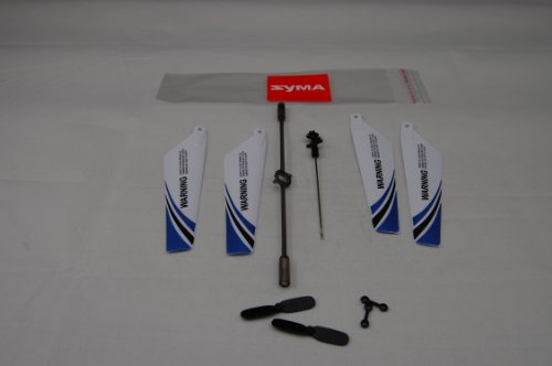 Syma S107 Full Replacement Parts Set for Syma S107 RC Helicopter, Syma Head Cover S107G-01, Syma Main Blades S107G-02, Syma Tail Decorations S107G-03, Syma Connect Buckle x2 S107g-04, Syma Balance Bar S107G-05, Syma Tail Blade S107G-06 - Blue set