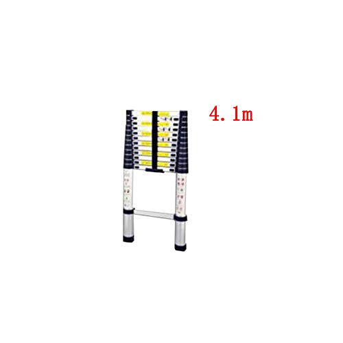 (ZPWSNH Telescopic Ladder Single-Sided Family Bamboo Section Up and Down Ladder Engineering Loft Straight Ladder Aluminum Alloy Step Stool (Size : 4.1m))