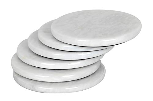 - Coaster Set of 6 Handmade Marble Warming Coffee Round Coasters Set for Mug Glass Drinks - Non Plastic Non Tile - Ideal for Car and Outdoor Pot Mat Caddy Kitchen Cup Pad Coaster Sets (WHITE)