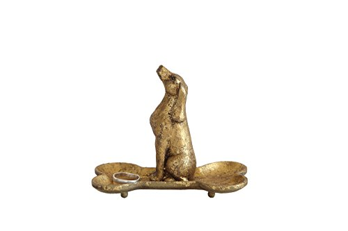 Antique Elephant - Creative Co-op Pewter Bone Shaped Jewelry Holder with Dog with Gold Finish