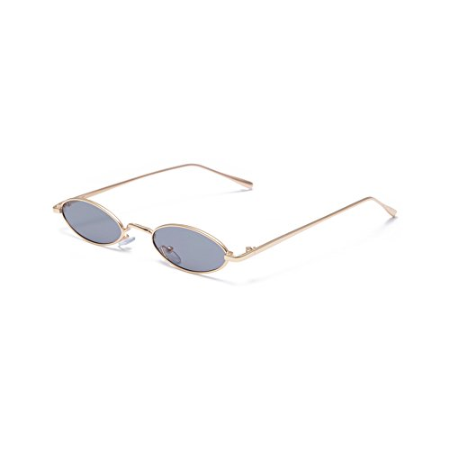 Retro Narrow Oval Sunglasses Vintage Small Unisex Fashion Golden Frame   Kendall Jenner Gigi Hadid Bella Hadid Style  Golden Frame Black Lens
