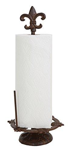 Creative Co-Op Cast Iron Fleur De Lis Paper Towel Holder, Brown