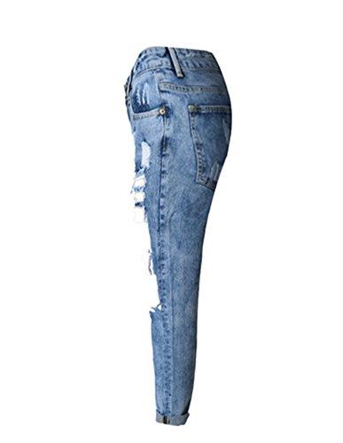 Azul Azul Mujer Rasgado Pantalones Jeans Agujero Rectos Alta Flor Cintura Suelto Jeans Vaqueros 7UY1qwC