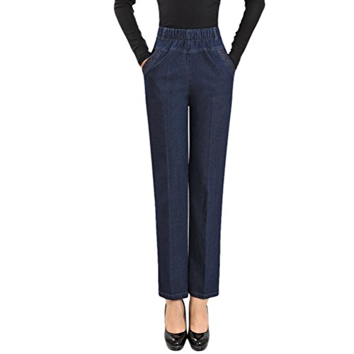 Mode Elastic Loose Trousers Slim Denim Jeans Zhhlinyuan Straight Womens Pantalon Middle la High Waisted Chic Dark Aged Femme Stretch Blue FwvEP