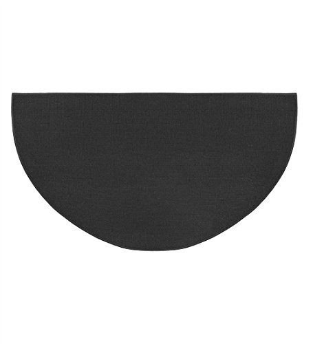 Fire Retardant Fiberglass Half Round Hearth Fireplace Area Rug Polyester Trim Non Slip Mat Low Profile Protects Floors from Sparks Embers Logs 27 W x 48 L Charcoal