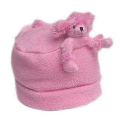 (Bear Hands Fleece Buddy Hat Pink Poodle on Pink Medium)